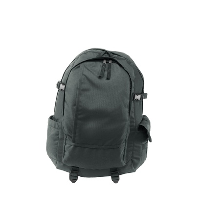 packsack: a black backpack isolated on a white background Stock Photo