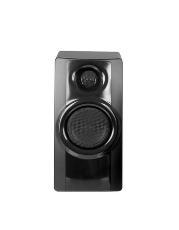 Black sound speaker on white background. Stock Photo - 14727556