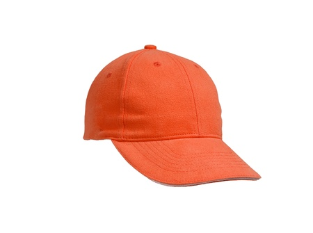 baseball ball: New Orange Baseball Cap isolated on white background Stock Photo