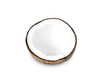 Coconut half on a white background photo