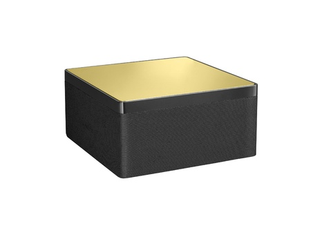 Black and gold floor sound speakers Stock Photo - 14729291