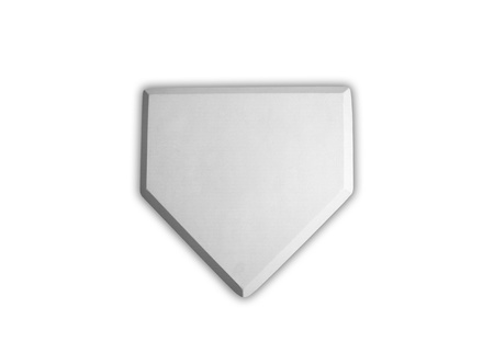 Baseball home plate base isolated on white photo
