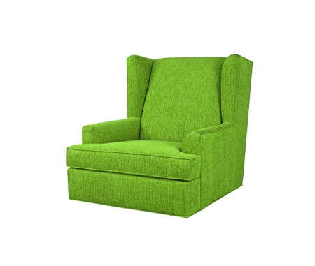 office chair: Green armchair isolated on white