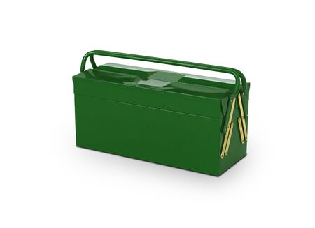 Green toolbox isolated on white photo
