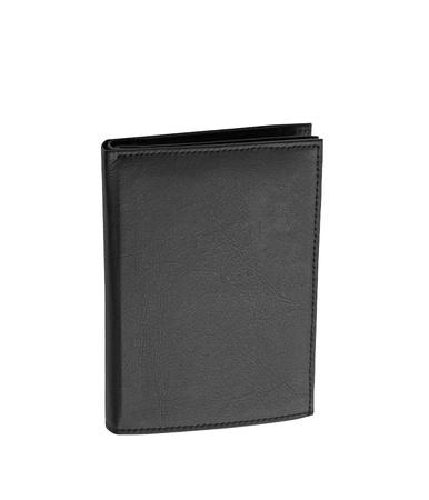 Black leather case on white background photo