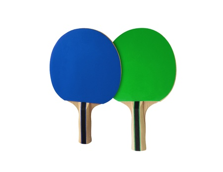 Pingpong racket isolated on white photo