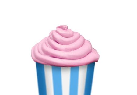 Pink creme cupcake isolated on white background photo