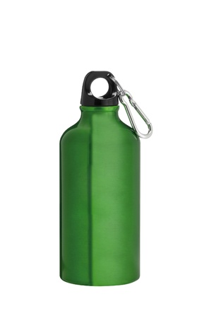 Metal water flask on a white background photo