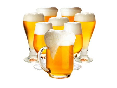 Glasses of beer isolated over white- excellent quality Stock Photo - 14723880