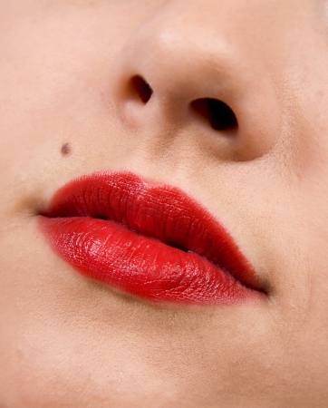Female lips close up. Red color Stock Photo - 15297947
