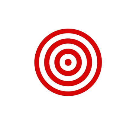 Red darts target aim on white background
