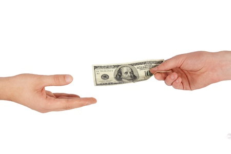 Hand giving money to other hand isolated Stock Photo - 15293397