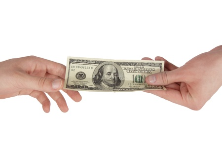 lend a hand: Hand giving money to other hand isolated