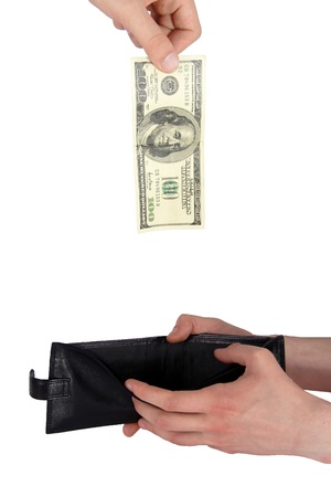 Hand giving money to other hand isolated Stock Photo - 15298642