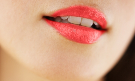 Sensual mouth.Red lipstick Stock Photo - 15298549
