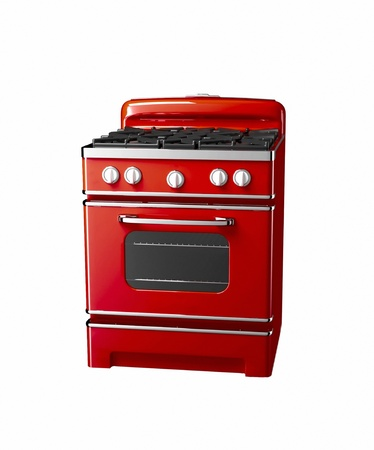 old gas stove: old vintage gas stove over white background