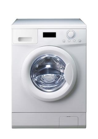 세탁기: 세탁기 위에 흰색 격리