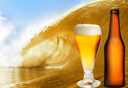 glass with bottle of gold beer over the big beer wave photo