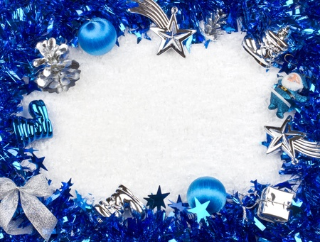 Christmas blue and silver frame Stock Photo - 15297857