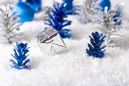 Silver and Blue Christmas background photo