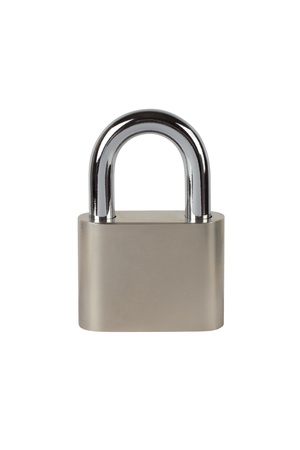 combination lock: Metal padlock on white background