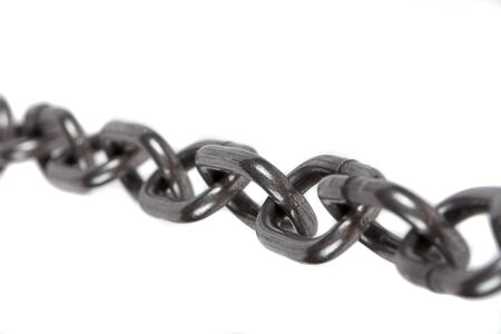 Metal chain parts isolated on white background. photo