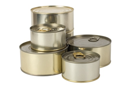Tin cans isolated on white photo