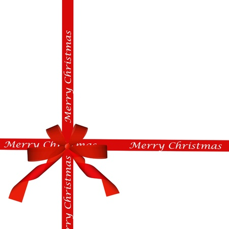 red ribbon bow isolated on white. holiday background. Stock Photo - 16414790