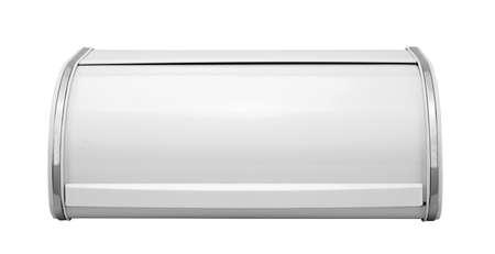 breadbasket: closed metallic breadbasket isolated on white background Stock Photo