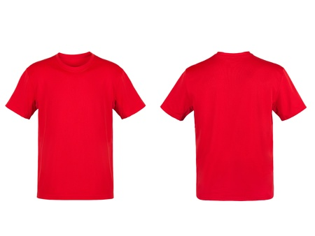 t shirt: Red T-shirt isolated on white background Stock Photo