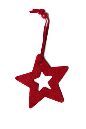Red five pointed star christmas decoration for haging on tree Stock Photo - 16853120