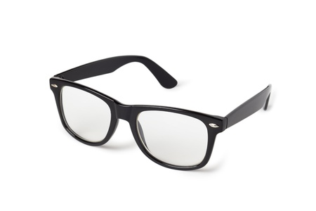 black nerd glasses isolated on white Stock Photo