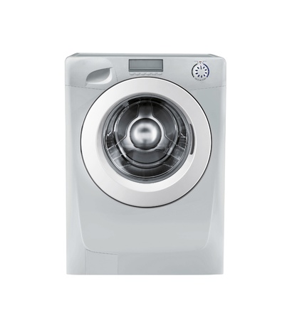 Closed washing machine on white background Stock Photo - 16852992