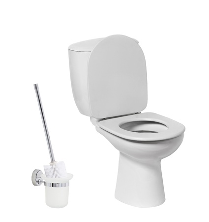empty the bowel: toilet bow with toilet brush Stock Photo