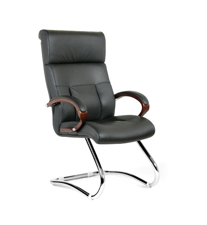 The office chair from black leather photo