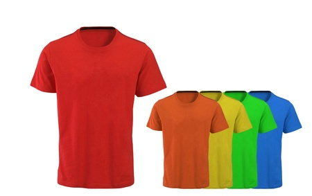 Color t-shirts on white background photo