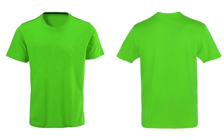 Green t-shirt isolated on white background photo