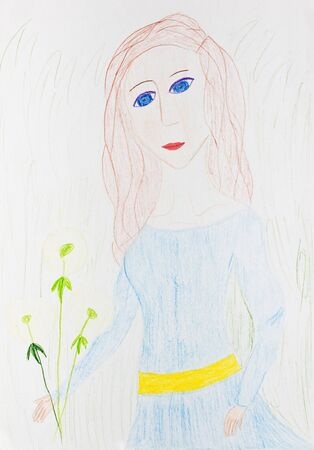 child's drawing: childs drawing - girl