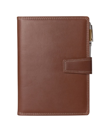 Leather notebook and pencil on white background. Stock Photo - 17909018