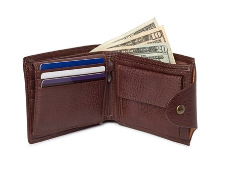 brown leather wallet with money isolated on white background photo