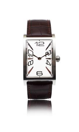 mans watch: hombre reloj con un cintur�n de cuero aislado Foto de archivo