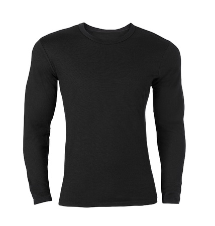 long sleeves: Black long-sleeved T-shirt Stock Photo