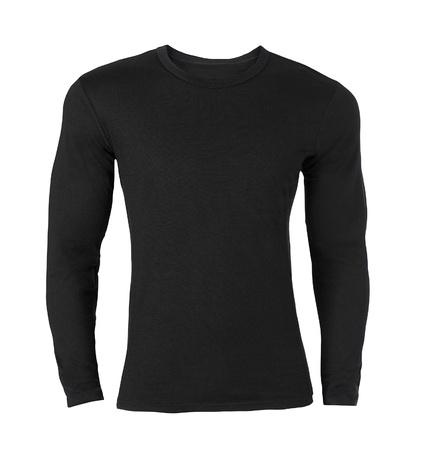 long sleeves: Black long-sleeved T-shirt Stock Photo
