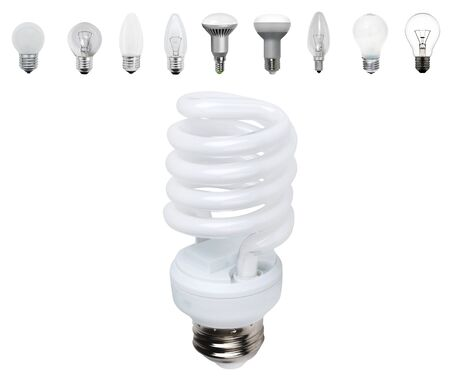 Different old types of bulbs and modern light-bulb isolated photo