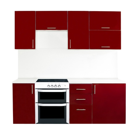 Modern red kitchen interior photo