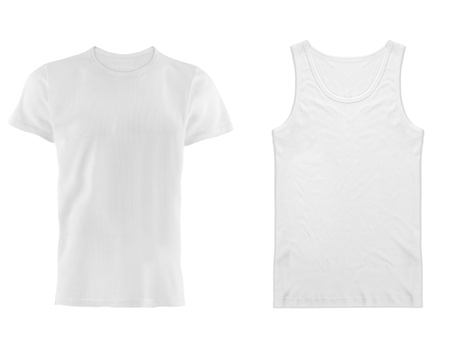 two white T-shirt isolated on white background Stock Photo - 17908835