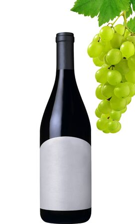 wine bottle and grapes isolated on white background Stock Photo - 17908878