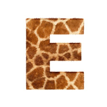 Letter from giraffe style fur alphabet. Isolated on white background. With clipping path. photo