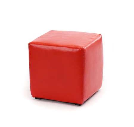 pouf: red leather foot stool ottoman Stock Photo