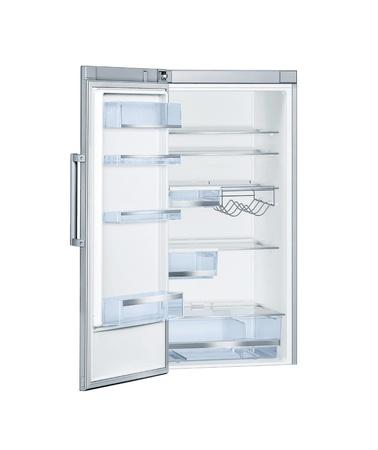 nevera: Refrigerador con puertas abiertas aisladas Foto de archivo